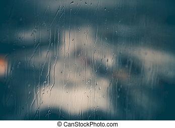 elvont, ablak, háttér, esős