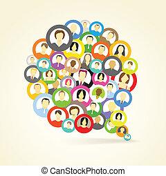 elvont, beszéd, hálózat, felhő, avatars