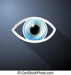 elvont, dolgozat, blue háttér, vektor, sötét, szem