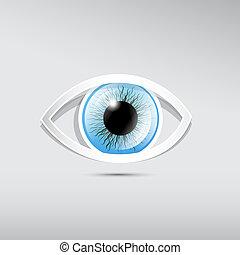 elvont, dolgozat, blue háttér, vektor, szürke, szem