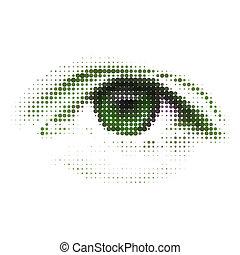 elvont, eps, zöld, emberi, digitális, 8, eye.