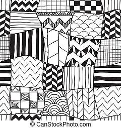 elvont, geometriai, hand-drawn, háttér, seamless