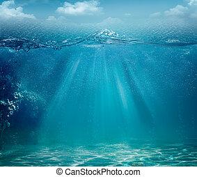 elvont, háttér, óceán, tervezés, tenger, -e