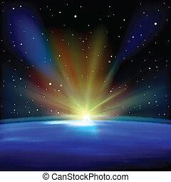 elvont, háttér, csillaggal díszít, hely
