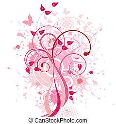 elvont, háttér, rózsaszínű, virágos