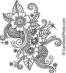 elvont, hand-drawn, mehndi, virág, hennabokor, díszítés
