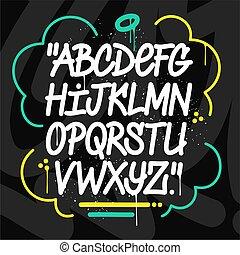 elvont, kézírásos, betűtípus, falfirkálás, vektor, szórakozottan firkálgat, ábra, alphabet.