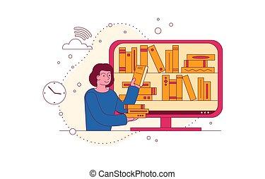 elvont, könyvtár, fogalom, elektronikus