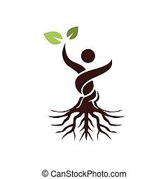 elvont, levél növényen, fa, ember, zöld, kéz, emel
