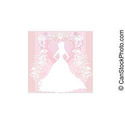 elvont, menyasszony, gyönyörű, virágos