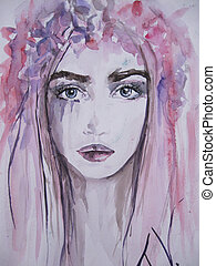elvont, nő, portrait., watercolor., arc