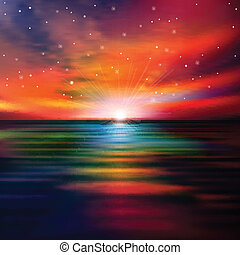 elvont, napnyugta, háttér, tenger