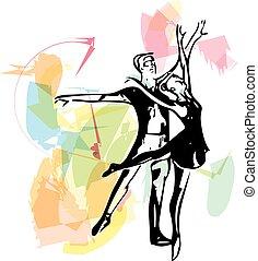 elvont, párosít, balett, ábra, tánc