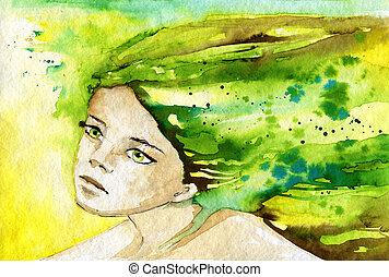 elvont, portré ábra, vízfestmény, ábrázol, nő