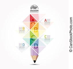 elvont, sablon, számozott, használt, megvonalaz, infographics, tervezés, /, vektor, website, kapcsoló, ceruza, szalagcímek, infographic, horizontális, grafikus, minimális, mód, lenni, alaprajz, vagy, konzerv