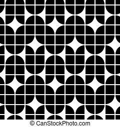 elvont, seamless, motívum, rekontra, fekete, fehér, geometriai, szembeállít