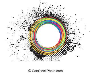 elvont, színes, grunge, loccsanás