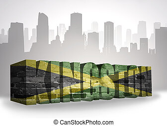 elvont, szöveg, jamaica, város, lobogó, nemzeti, kingston, árnykép
