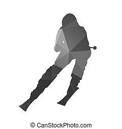 elvont, vektor, árnykép, lesiklás, skier.