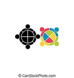 elvont, vektor, geometriai, jel, emberi, gyűlés