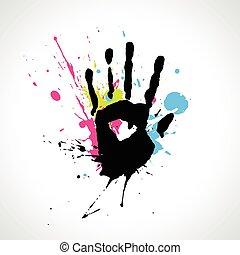 elvont, vektor, kéz
