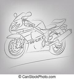 elvont, vektor, motorkerékpár, ábra, sketched