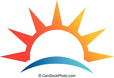 elvont, vektor, nap, jel, tengerpart, jelkép