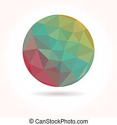 elvont, vektor, színes, alacsony, poly