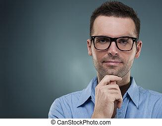 ember, áll, bájos, szemüveg, kéz