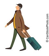ember, öreg, úriember, poggyász, mód, poggyász, gyalogló