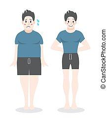 ember, övé, concept., weight., kövér, loosing, egészséges