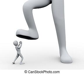 ember, alatt, lábfej, 3