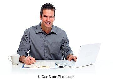 ember, computer., dolgozó, laptop