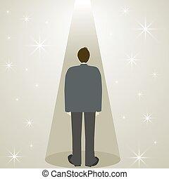 ember, csillag, reflektorfény, üzlet alkalmaz