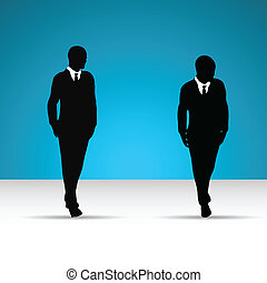 ember, csomó, illeszt, ügy, silhouette.
