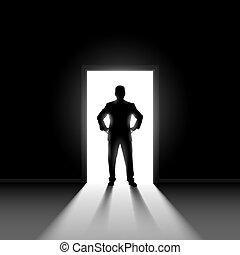 ember, doorway., álló, árnykép