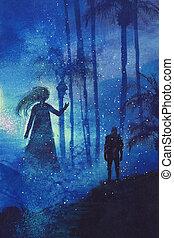 ember, erdő, szellem, titokzatos