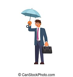 ember, esernyő, birtok, eső, alatt