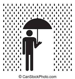ember, esernyő, rain., birtok, alatt