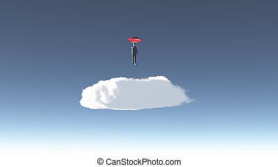ember, felül, felhő, hovers
