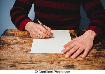 ember, fiatal, levél írás