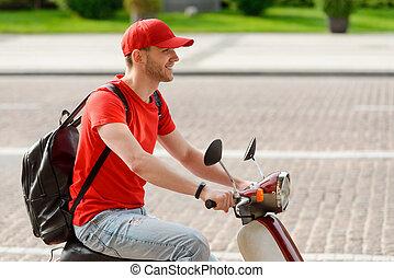ember, fiatal, motorkerékpár, lovaglás