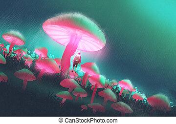 ember, gombák, erdő, nagy
