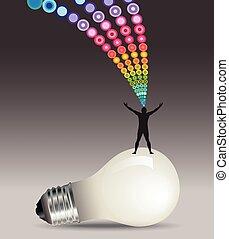 ember, gondolat, fogalom, lightbulb