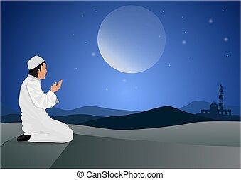 ember, háttér, hold, imádkozás