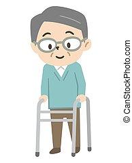 ember, idősebb ember, használ, nemezelőmunkás