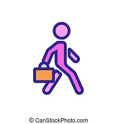 ember, ikon, bőrönd, dolgozó, mozgató, áttekintés, vektor, ábra