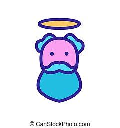 ember, ikon, dicsfénnyel övezni, jámbor, vallásos, áttekintés, vektor, ábra