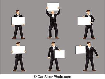 ember, illeszt, íj, karikatúra, birtok, fekete, vektor, aláír, csomó