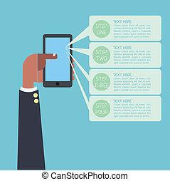 ember, infographic, ügy, kéz